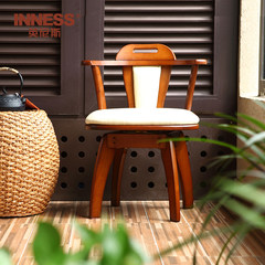 Innis wood chair computer chair dining chair armchair stool with simple modern bedroom chair A paragraph (honey color)