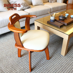 Innis wood chair computer chair dining chair armchair stool with simple modern bedroom chair C paragraph (log color)
