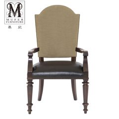 Fei Mu high-end custom beech furniture new American classical leather chair European restaurant dining chair BH40 (no armrest) size and color can be customized