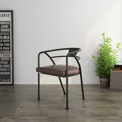 LOFT American Vintage chair backrest iron mining wind Cafe Chair office chair staff chair Iron black, cushion Brown
