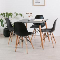 伊姆斯圆桌子冷饮店甜品店奶茶店桌椅肯德基餐桌椅组合象牙白餐桌 80*80黑桌