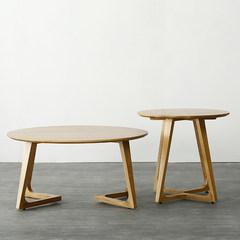 设计师茶几 北欧沙发茶几家具简约榻榻米茶座咖啡厅矮桌实木茶几 组装 本色圆咖啡桌