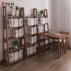 All solid wood desk, modern simple desk, bookshelf, combination study, bedroom, conjoined desk, bookshelf, home computer desk 1.3m walnut color yes