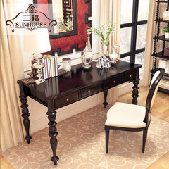 SH high-end custom furniture, American countryside, new classical wood carving, desk, desk, computer desk Picture color