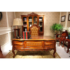 Jimei mahogany furniture, hedgehog rosewood desk, solid wood boss table, African rosewood European style desk study Chair no
