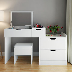 Custom bedroom dresser, simple modern multi-function retractable flip makeup table, desk, small unit makeup desk Assemble White maple suit