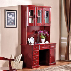 Fusheng Chinese wood computer desk desk desk desk bookcase bookshelf combination desk modern household Claret yes