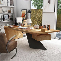 American style retro solid wood bosses, clerks, computer desks, offices, industrial wind desk, wrought iron creative desk, pumping Computer desk 160X80X75 five centimeters