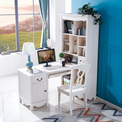American pure solid wood Corner desk bookcase bookshelf integrated type of children and girls corner computer desktop Matching chair Y15-2 (445*455*980) yes