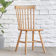 The wooden chair chair dining table chair simple household creative wood color design Nordic chair seats Log color oak