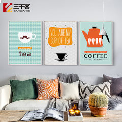 Cartoon simple modern decorative painting, lovely little fresh cafe, triple painting, frame, living room, bedroom murals 43*63 (single size) Shallow wooden frame A Independent