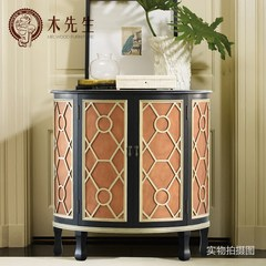 Mr. wood American modern new Chinese style custom made furniture, solid wood bucket cabinets, dining cabinets, entrance cabinets, lockers, double doors Ready Dark brown