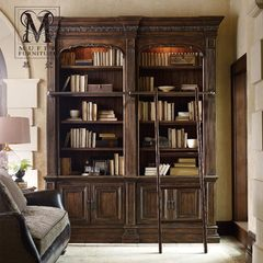 High-end custom made solid wood furniture, European style wine cabinet, dish cupboard, American new classical bookshelf, bookcase, HK50 Size and color can be customized More than 1.4 meters wide