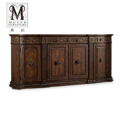 High-end custom made solid wood furniture, European cabinet, American new classical restaurant, dish cupboard, sideboard HK48 Size and color can be customized 4 door