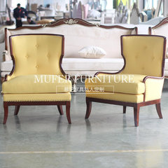 High end custom furniture, American new classical European beech fabric carved single sofa GC808 Single Color and size can be customized