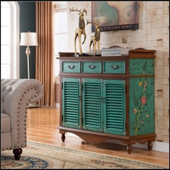 European style American pastoral style handmade painting, retro furniture, three shutters, gas shoes, porch cabinets