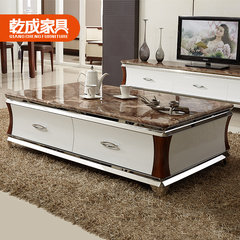 Creative furniture, modern simplicity, new Chinese style marble table, small living room, stainless steel, wood, tea tables and chairs combination Ready 130*70cm marble coffee table