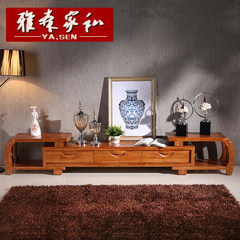 Solid wood TV cabinet living room, Chinese simple cabinet, modern furniture set, combination of film and television cabinet, simple tea table combination Assemble Tea red (photo display color)