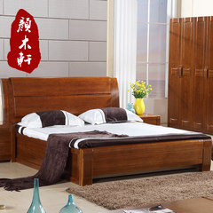 Fraxinus mandshurica solid wood bed 1.5/1.8 meters high box bed double bed, modern Chinese style storage bedroom bedroom furniture 1500mm*2000mm High box bed [storage free function] Frame structure