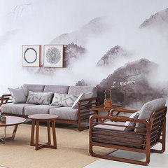 实木布艺沙发可拆洗 北欧简约客厅三双人沙发组合新中式家具沙发 单人 灰色