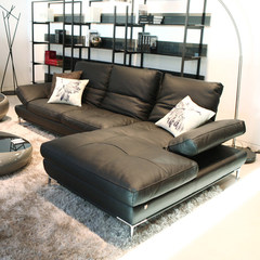Small apartment, leather sofa, creative corner, fashionable leather sofa, multi function, simple modern Nordic leather sofa combination Straight position + no armrest single + imperial concubine