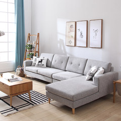 Washable fabric sofa combination of large-sized apartment simple Japanese double simple cloth sofa Nordic style furniture combination Double position + imperial concubine (sitting on the left)