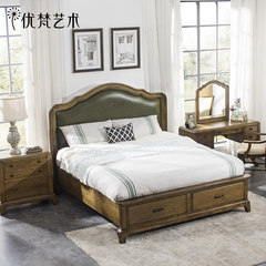 Excellent art Taylor American country solid wood bed 1.8m row skeleton big bed, back to the ancients, soft rely on storage small family 1800mm*2000mm Bronze color Frame structure