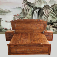 Jimei rosewood furniture, hedgehog rosewood bed bedroom, 1.8 meters double bed, mahogany bed, solid wood bed, African rosewood 1800mm*2000mm Double bed Box frame structure