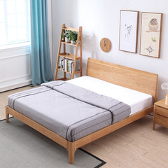 Nordic solid wood bed, Japanese style 1.51.8 meters, pure solid wood, white oak double bed, environmental friendly bedroom furniture, Nordic furniture 1500mm*2000mm Log color Other structures