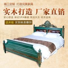 American furniture factory direct solid wood bed layer of leather bed double Zhuwo French malachite green 1500mm*2000mm Leather back Frame structure