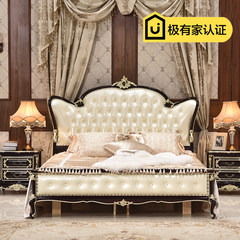 European style bed leather bed 1.8 meters double bed new classic wood bed bedroom luxury bed Princess Wedding bed ebony 1800mm*2000mm [color] high-grade ebony dresser Frame structure