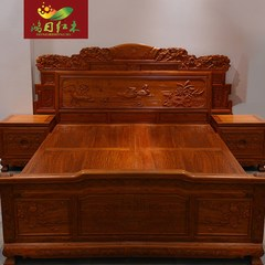 Chinese bygoodlord wind wind mahogany bed 1.8 meters Burma carved rosewood padauk wood double bed 1800mm*2000mm Bruma Rosewood Support structure