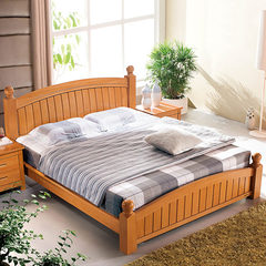 German red beech modern bedroom furniture, all solid wood adult double bed solid wood bed special package LB20 1500mm*1900mm Beech double bed Other structures