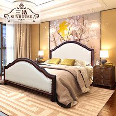American fabric soft bed solid wood double bed 1.8 meters economic type of modern Chinese wedding bed bedroom bed 1500mm*2000mm Single bed Frame structure