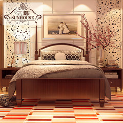 American Deluxe Double wedding bed wood fabric soft double 1.8 meters of modern Chinese style wedding master bedroom bed 1500mm*2000mm Single bed Frame structure