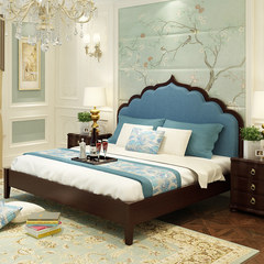 European luxury adult bed double bed 1.8 meters /2 meters solid wood modern Chinese style solid wood wedding bed master bedroom 1800mm*2000mm blue Air pressure structure