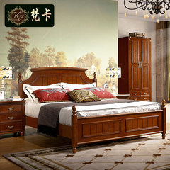 Fanka furniture American village 1.5 meters 1.8 meters a simple retro bed Mediterranean wood double 1500mm*1900mm American country solid wood bed Air pressure structure