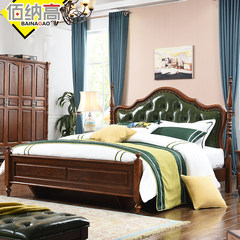 Byna furniture, American bed, American style leather bed, solid wood bed, 1.8 meter double bed, high box bed, all solid wood bed 1500mm*2000mm Bed + latex mattress + bedside table Frame structure