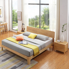 Modern minimalist all solid oak oak bed, Nordic 1.5 meters, 1.8 meters, log color double bed bedroom furniture 1500mm*2000mm All solid wood bed Frame structure