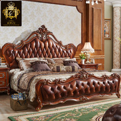The first 1.8 European bed Zhuwo bed double bed solid wood bed leather American dark wedding bed bed large-sized apartment 1800mm*2000mm High grade European style leather bed Frame structure