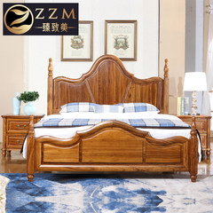American style bed bed bed bed full of French Wujin wood bed double American country marriage bed bedroom furniture 1800mm*2000mm Single bed Frame structure