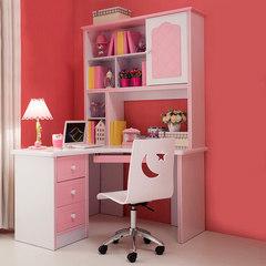 Children Corner desk, pink bookshelf combination, pastoral desk, home computer desk, desk, learning table, girl Rectangular desk (excluding chair)