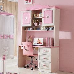 Children desk, bookshelf combination, girls' right angle writing desk, computer learning desk, powder ribbon drawer cabinet desk Pink learning desks (including bookshelves)