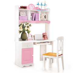All solid wood children's computer table, Girls Pink desk, computer desk, children's furniture right angle desk Solid wood Corner desk + matching chair