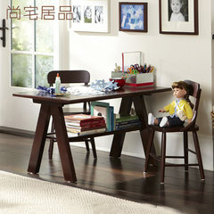 American country creative whole solid wood children learning table, student learning table, toy table, game table, double layer Single table