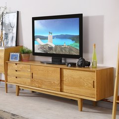 United dragon European solid wood TV cabinet, modern simple small type cabinet, white oak log, TV cabinet combination furniture Ready Light grey