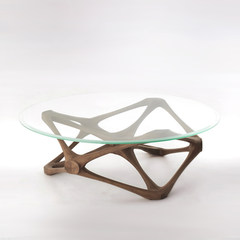 Nordic round table, solid wood glass coffee table, simple living room, personalized creative furniture designer, model room furniture Assemble 1 meters