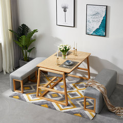 Nordic designers, small units, multi-functional furniture, fabric sofa chairs, creative folding table, dining table and chair combination Log color