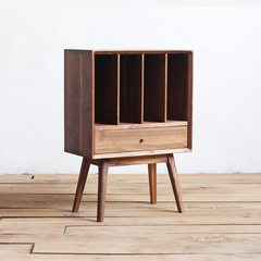 North Europe all solid wood bookcase, North America imported oak black walnut furniture, Japanese Korean cabinet side Black walnut of North America 0.6 meters wide