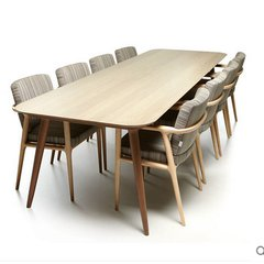 Nordic furniture, solid wood table and chair combination, modern minimalist rectangular, 8 people desk, negotiation table, conference table customization 140*70*75 no